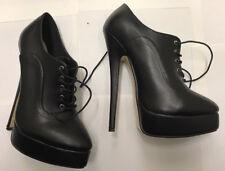 "Super High Platform Lace Up Heels, 7 1/2"", Sz 14, Black, New"