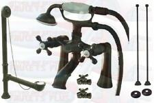 Oil Rubbed Bronze Deck Mount Clawfoot Tub Faucet With Drain - Supplies - Stops