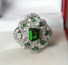 Fabulous 14K White Gold Russian Chrome Diopside & Diamond Ring