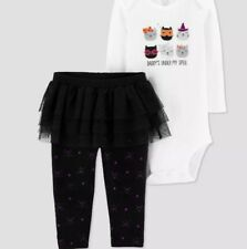 Carters Newborn Baby 2pc Halloween Tutu Outfit Daddy's Under my Spell NWT