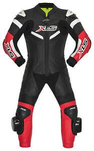 XLS Lederkombi für Kinder einteilig Kinderkombi Kids Suit Einteiler Schwarz Rot