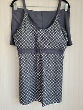New listing Women's Size 2X Gray/White Tankini Swimsuit Adjustable Straps Boy Shorts