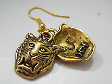 TIGER Earrings Brass Plated Double Sided Wild Tigers & Gold Filled Wires NEW!
