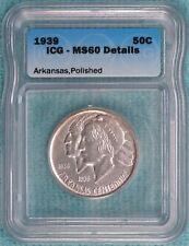 1939-P MS-60 Details Arkansas Centennial Commemorative Silver Half 2,104 Minted