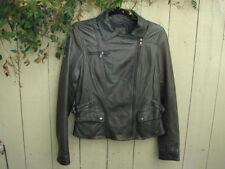 Banana Republic Grey Leather Biker Moto Jacket Size M