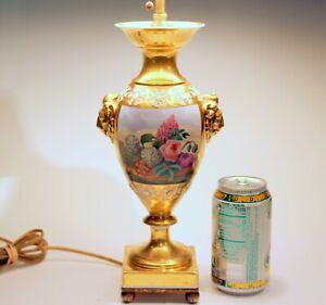 Antique Porcelain Lamp Urn Continental Paris French German Gilt Empire Vase