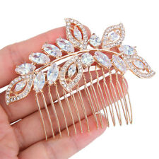 Bridal Floral Flower Clear Zirconia Hair Comb Piece Accessories Rose Gold Tone