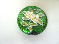 Murano Lampwork Glass Beads Gold Foil Green With Raised Flower Design