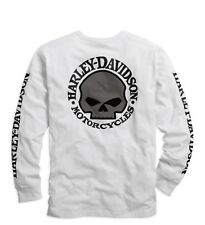 Harley-Davidson Men's Skull Long Sleeve Tee White Gr. L - Herren Shirt, Weiß