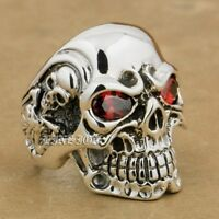 Red CZ Eyes 925 Sterling Silver Titan Skull Mens Biker Punk Gothic Ring 8V405D