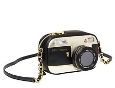 Betsey Johnson Kitsch Vintage CAMERA Crossbody Purse Black w/GOLD SKULL Stud NWT
