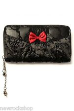 Banned Ladies Wallet Wbn1409 Blk Ivy Black Lace Wallet Red Bow
