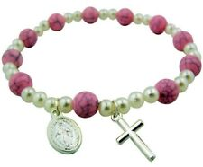 First Communion Pink Marble Faux Pearl Rosary Bracelet with Miraculous Medal