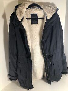 Aeropostale Women's Large Faux Fur Hood Fleece lined Zip Coat Jacket Parka Navy
