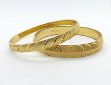 Vintage Monet 2 Gold Tone Solid Bangle Bracelets
