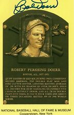 BOB DOERR AUTO SIGNED 1997 HOF YELLOW PLAQUE BASEBALL POSTCARD CLEVELAND INDIANS