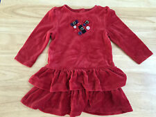 Gymboree Red Holliday Velour Dress 18-24 Month Heart Buttons