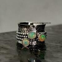 Ethiopian Opal Ring, Solid 925 Sterling Silver Spinner Ring, Opal Spinner Ring,0