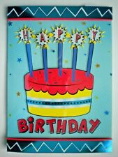 "PAPER MAGIC ~ GLITTER CAKE & CANDLES ""HAPPY BIRTHDAY"" GREETING CARD + ENVELOPE"