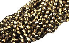 100 BRONZE FACETED ROUND GLASS BEADS 3MM