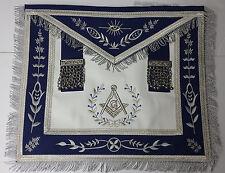 Master Mason Masonic Apron Navy Blue With Fringe Embroidered Silver G