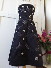 BEAUTIFUL OASIS UK BLACK STRAPLESS SEQUINED, BEADED, EMBROIDERED FORMAL DRESS XS