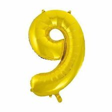 "Giant Foil Number Air Helium Glitz Large Balloons Birthday Party Wedding 34"" Gold 9"