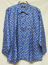 Mudmee Thai Silk Blue with Gray Elephants Shirt  - Size L2