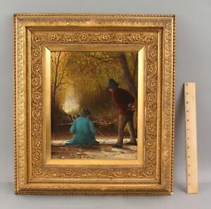 19thC Antique Signed E SELM French Fishermen Wood Panel Oil Painting, NR