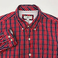 Club Room Button Up Shirt Mens Large Red Blue Plaid Slim Fit Long Sleeve