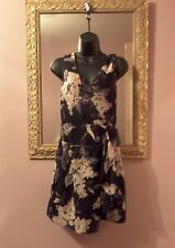 Stunning 100% Silk Dress, Oasis size 10 ♡ floral faux wrap mini ♡ vgc