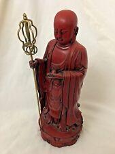 """Red Stone 6X15"""" Asian Buddha Man Art Sculpture"""
