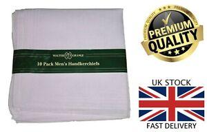 New 10 Pack Men's Walter Grange Plain White Polycotton Hankies Handkerchiefs