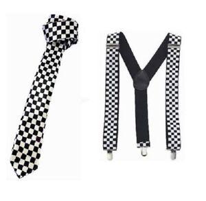 1980's Retro SKA Black White Chequered Tie & Braces Fancy Dress Accessorie