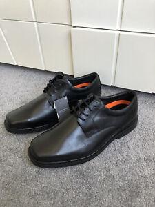 Mens Black Leather M&S Derby Shoes Size 11