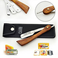 WOODEN BARBER HAIR SALON STRAIGHT WET CUT THROAT SHAVING RAZOR SHAVETTE BLADES