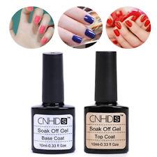2PCS CNHIDS Nail Art Gel Soak Off UV Base and Top Coat Gel Polish 10ml -UK