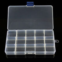 15 Compartments Plastic Clear Box Jewelry Bead Storage Container Craft Organizer
