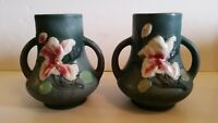 Vintage Japanese Pottery Hong Kong Flower Floral Vase Jug Hand Painted Pair
