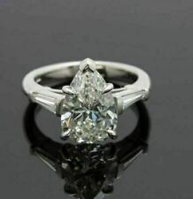 Pear Cut Brilliant CZ Moissanite Engagement Ring 14k White Gold Finish