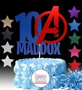 Avengers Assemble Hulk Captain America Name Age Birthday Cake Toppers
