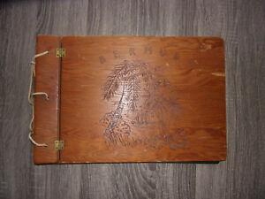 """Bermuda"" Island Pirate Sailboat Ship Beach Hand Carved Wood Photo Album Artwork"