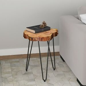 Nila, Solid Acacia Wood Top Accent End Table in Natural or Grey Finish