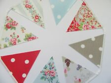 CATH KIDSTON OILCLOTH Fabric BUNTING Spray Flowers, Blue Spot, Rose, 14cm flags