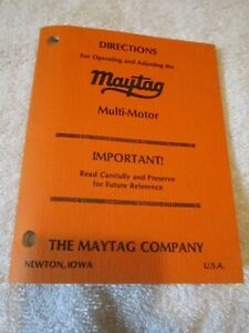 Maytag Service Operating Adjustment Manual Multi Motor Directions Booklet