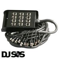 PULSE PLS00322 12 Way 8/4 XLR Multicore Stagebox Stage Snake 15m 8 Send 4 Return