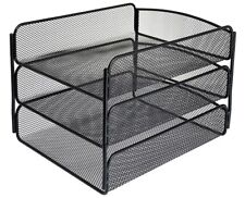 AdirOffice Black 3 Tray Mesh Desktop Document Paper File Sorter Organizer