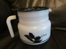 french white flower print vintage glass water/juice jug