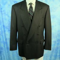 CANALI Proposta ITALY 42R Hopsack Woven Wool Brown Stripe Double Breasted Blazer
