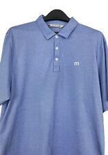New listing Travis Mathew Men's XL Golf Polo Shirt Striped Pima Cotton Polyester Blue